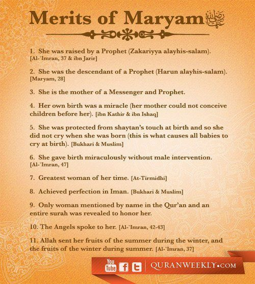 Inspiration: Merits of #Maryam (RA)