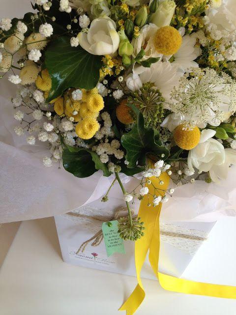 {Boho wedding} yellow and white bouquet