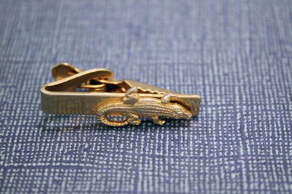 Vintage Gator Tie Clip - Alligator Gold Tone by IntoTheWardrobe, $6.00