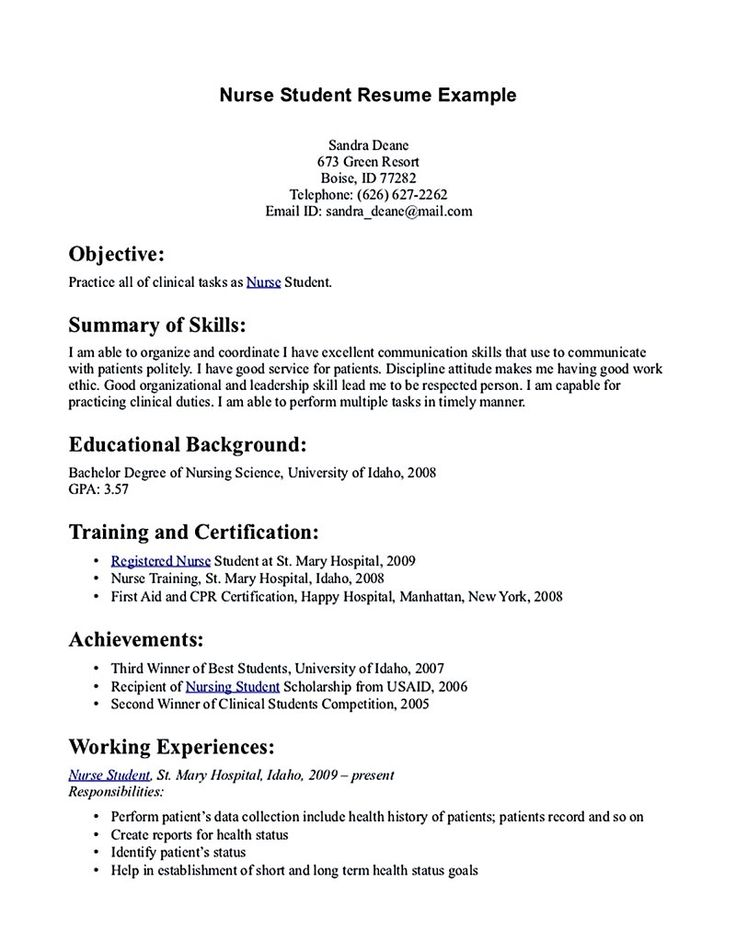 Nursing student resume must contains relevant skills, experience and also educational background to make sure the hospital or organization about your ... nursing student resume
