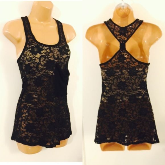 BLACK LACE RACERBACK TANK In very good condition. Size small. Sheer black lace- the photos have it shown with a nude bandeau top underneath! Love this. One solid black fabric pocket in the front left breast. Cuuuuute Tops Tank Tops