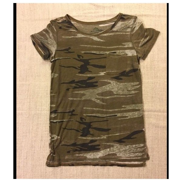 Camo tee shirt ❤ liked on Polyvore featuring tops, t-shirts, front pocket t shirt, long length t shirts, camouflage t shirt, short sleeve tee and camoflage t shirt