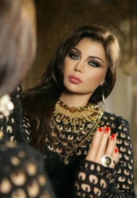 Haifa Wehbe--beautiful contrast between eyes and hair!