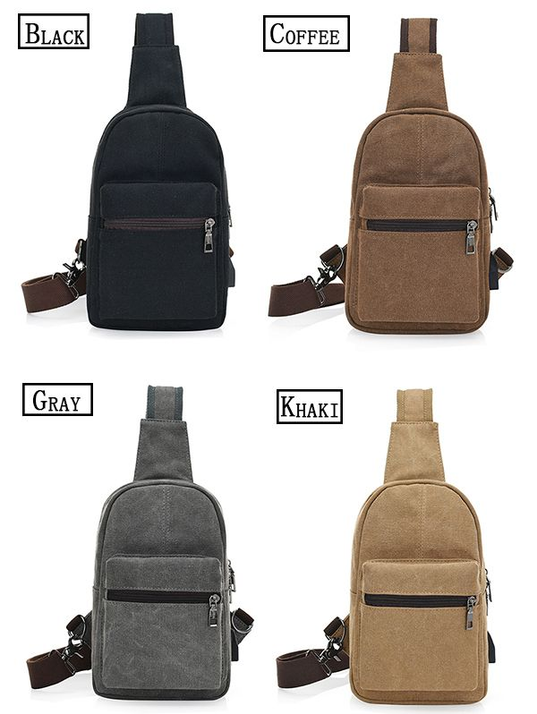 Men Canvas External USB Charging Function Crossbody Bag Leisure Retro Sports Chest Bag