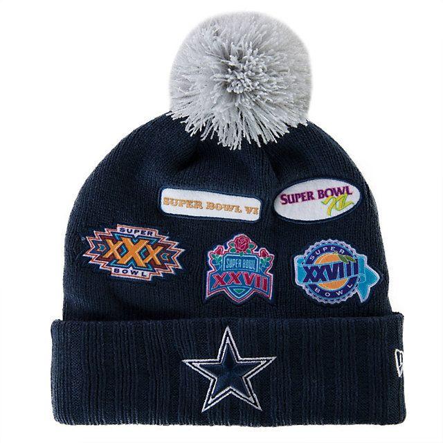 9767bdddf2e NFL Dallas Cowboys New Era Super Bowl Allover Knit Cap - Show off the 5  Super Bowl Championships for America s Team! Get it …