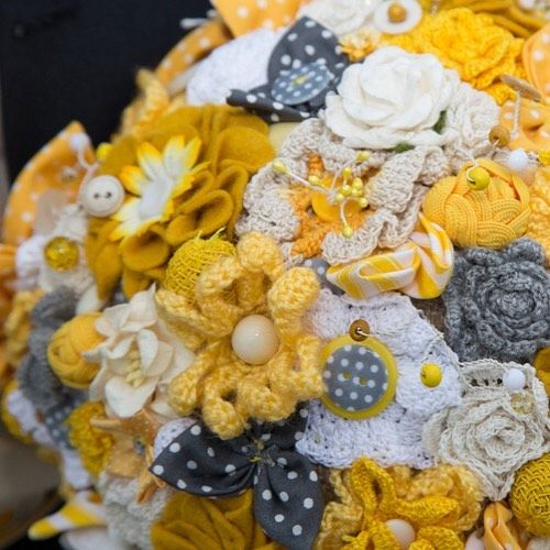 Now here is something you don't get at every wedding... A divine hand crocheted bridal bouquet in sunshine yellow and grey. I am told that flowers are probably one of the easiest and fastest things to crochet.  Don't think I'll be trying it anytime soon but this bouquet was a real treat to photograph. . . . . . #weddingdetail #weddingphotographer #southwestweddingphotographer #devonweddingphootgrapher #weddinginspiration #contempoaryphotographer #alternativeweddingphotographer #digitalimages…