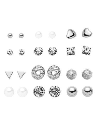Orecchini Geometrici Placcati Strass - Argento