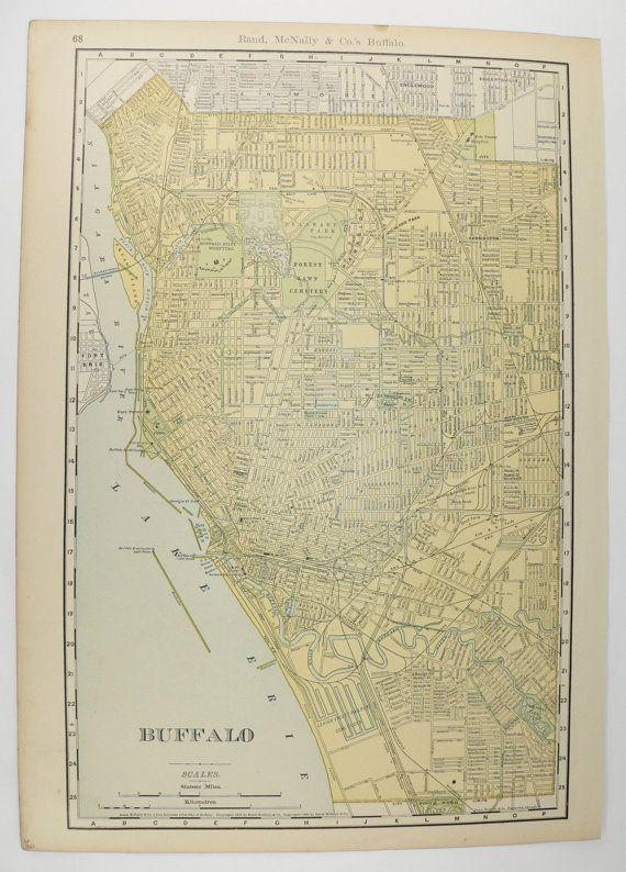 Large Vintage Map of Buffalo NY 1903 Antique Buffalo NY Map, City Street Map, Vintage Art Map, Man Cave Gift for Him, Buffalo NY Gift available from OldMapsandPrints.Etsy.com #BuffaloNewYork #VintageMapofBuffaloNY #BuffaloNYWallArt