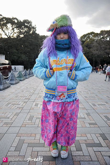 130223-4767 - Japanese street fashion in Harajuku, Tokyo  Not quite turquoise (except the scarf) but cute anyway!
