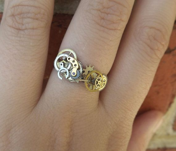 steampunk ring stainless steel unisex steampunk ring watch gear ring silver bronze - Steampunk Wedding Rings