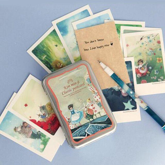 40 sztuk/partia Alicja blaszanym pudełku Karty pocztówki kartki z życzeniami zestaw Mini retro Europejski Klasycznym stylu i Zaproszenia