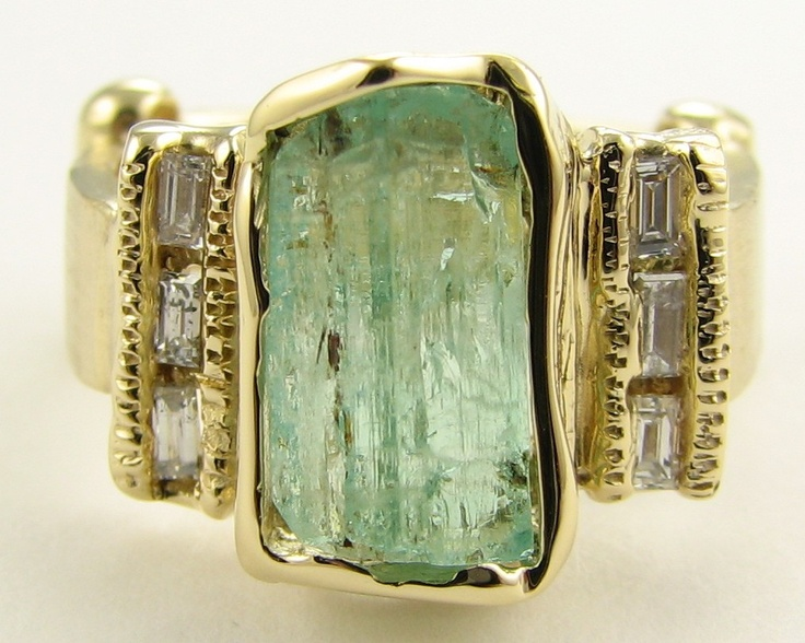 Ring | Wexford Jewelers.  Raw Nigerian beryl (Emerald), 18k gold, diamonds