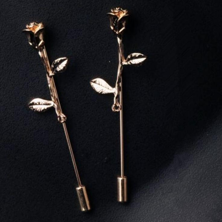 Bovvsky Vintage gold Metal Rose Flower Lapel Pin for Men branch Brooch Bouquet Stick Lapel Pin Badges Collar Pin Men Suit