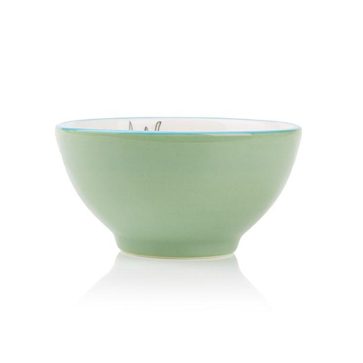 Medium bowl with protea Black/white
