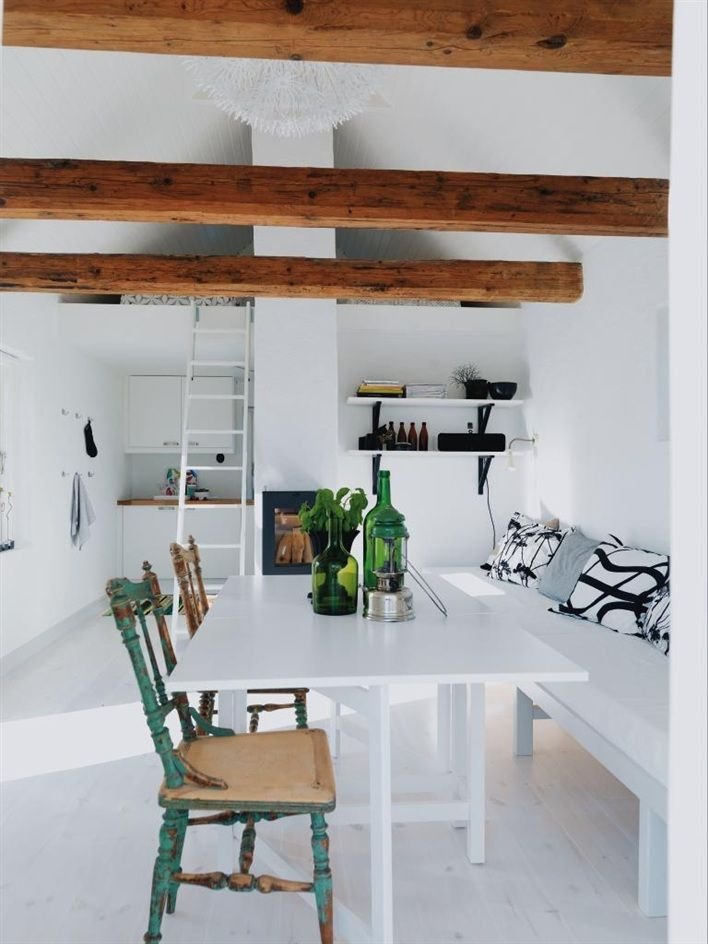 Dining Area, Dining Room, Expo Beams, Summer House, Diningroom, Old Chairs, Wood Beams, White Wall, White Room