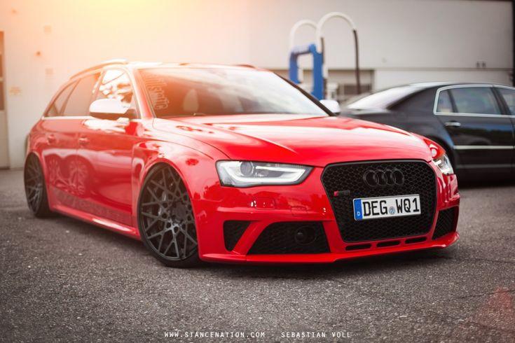 Slammed Audi RS4 Avant on Rotiform wheels