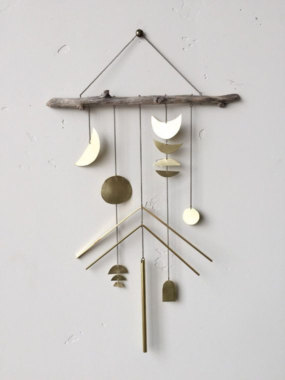 """Geometric brass wall hanging + geometric mobile // """"Naomi"""" // Made to order / Electric Sun Creatives / Etsy / Sacred Spaces <3"""