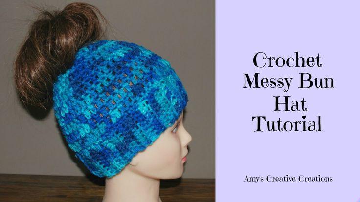 Crochet Messy Bun Hat Tutorial....pattern free below video