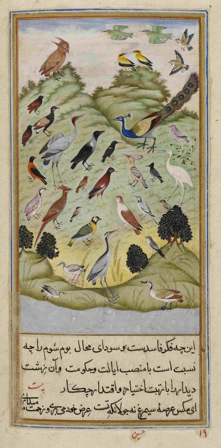 The crow deciding whether the owl should lead the assembly of birds. from Anvar-i Suhayli, a version of the Kalila va Dimna fables, India, 1610–11