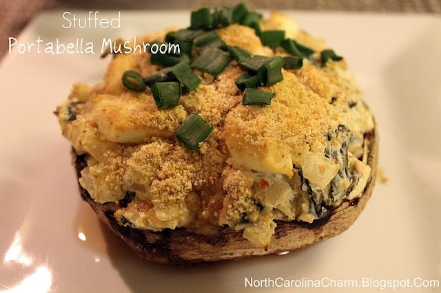 Stuffed Portabella Mushroom: shrooms, butter, onion, garlic, spinach ...