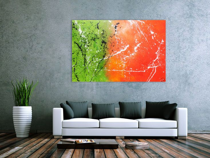 Abstraktes Acrylbild orange grün modern 100x150cm von xxl-art.de