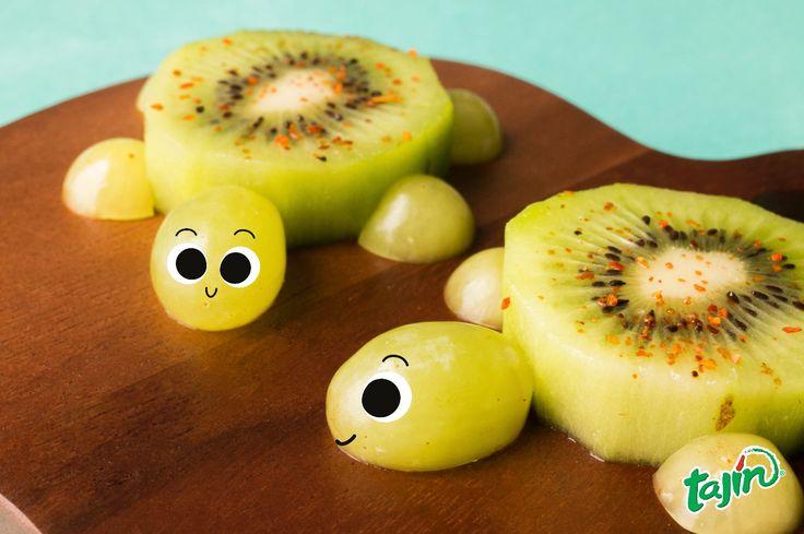 Turtle food ideas, great for kids (kiwi, grape and Tajin)