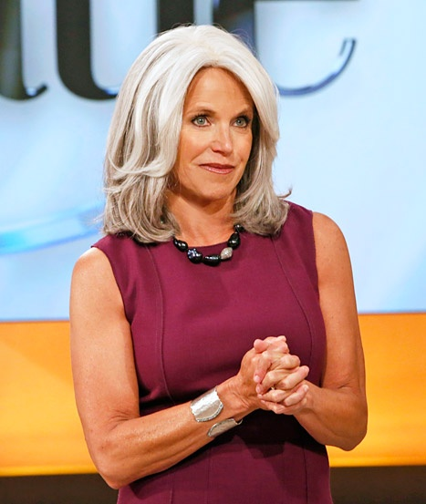 Katie Couric sports a gray wig on her show on September 19, 2012.