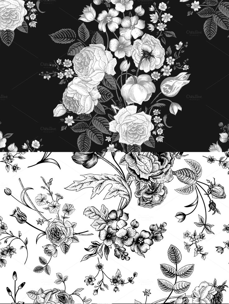 Set of vintage floral pattern B & W by olga.korneeva #floral #illustration #design