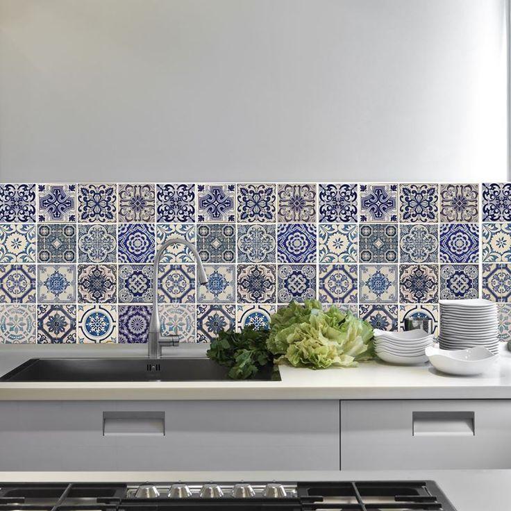 Afbeelding van Walplus Decoratie Sticker Muursticker - Spaanse Blauwe Tegels 60x60cm