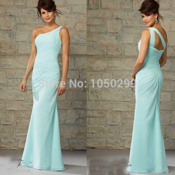 aqua long bridesmaid dresses   Para Madrinhas Long Chifon Ruched Women Gown Aqua Bridesmaid Dress ...