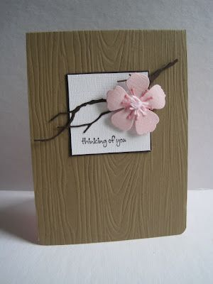 handmade kraft card ... Asian feel with cherry blossom on a twiggy die cut branch ... like the woodgrain embossing on the card front ...