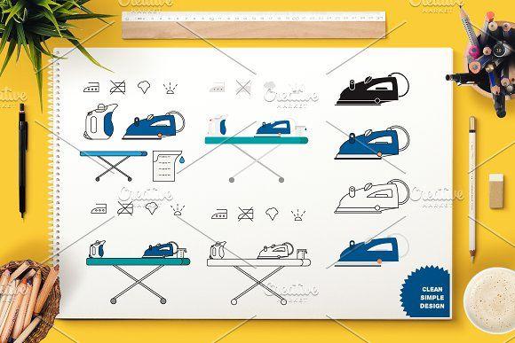 Iron Appliance Symbols by barsrsind on @creativemarket