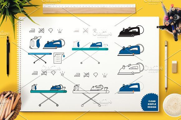 Iron Appliance Symbols by barsrsind on @creativemarket