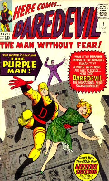 PURPLE MAN (Zebediah Killgrave) created by Stan Lee & Joe Orlando - debuted in 'Daredevil' #4 (October 1964).