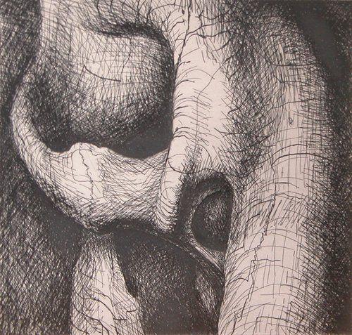 Henry Moore, Elephant skull - etching