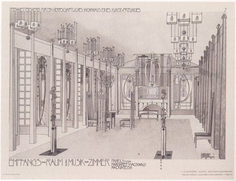 Mackintosh's 1901 design purposal for The House For An Art Lover. It was actually Built in 1988.