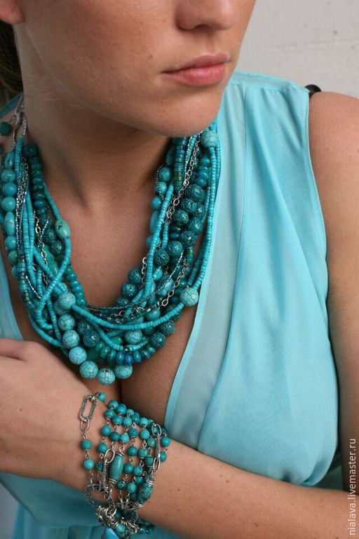 Купить Бирюзовое ожерелье - украшения из камней, Модное украшение, колье с камнями, бижутерия ручной работы
