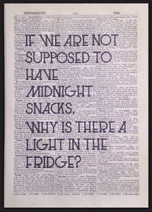 Quirky Funny Kitchen Quote Print Vintage Dictionary Wall Art Midnight Snack Diet