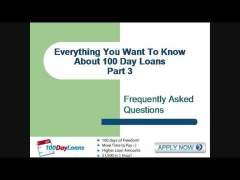 Get More Information Here:http://dlikes.com/100 Day Loan100DayLoans Part 3 - 100 Day Loan FAQs and ReviewsThis is the 3rd 100 Day Loan video in the series.  In this video we will talk about:How long do I have to pay off a payday advance? Get More 100DayLoans FAQs And Reviews Here:http://www.youtube.com/playlist?action_edit=1=PLeE-Pt1sYzCtsS9ZhPfsl008Tp7_G3coJ