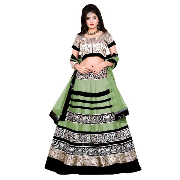 Buy Marvelous Embroidered Green Banglori Silk Circular Lehenga Choli Online at cheap prices from Shopkio.com: India`s best online shoping site