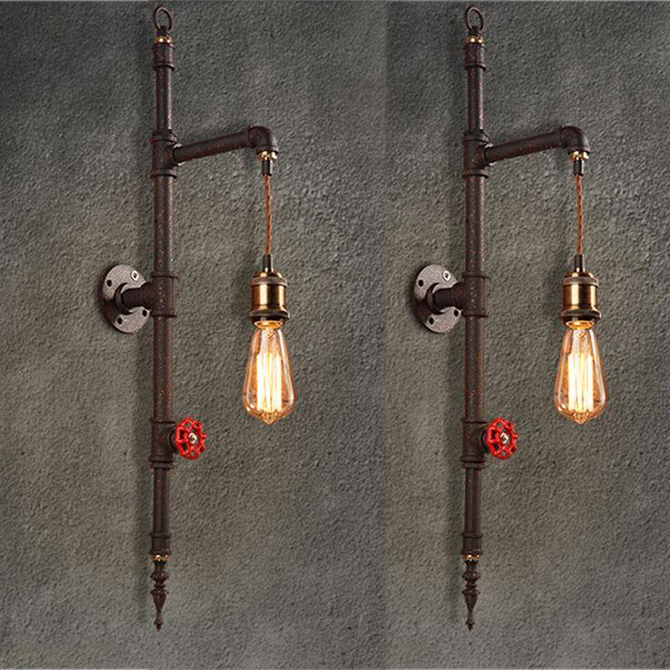 Vintage Iron Pipe Wall Lamp 220V Luxury Industrial Bathroom Wall Light  Fixture Loft Bar Led Wall