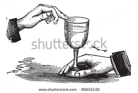 Old engraved illustration of How to produce sound resonance with a wet finger on a wine glass. Trousset encyclopedia (1886 - 1891). - stock vector