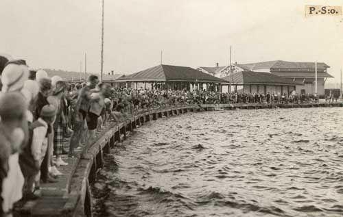 Nro 119 5/8 -34. Uimarit ympäröivät satamalaiturin.