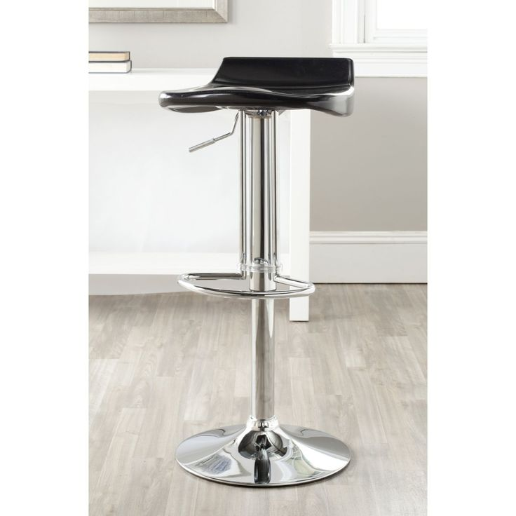 Safavieh Avish Black Adjustable 24-32-inch Bar Stool (FOX7506B) (Chrome)
