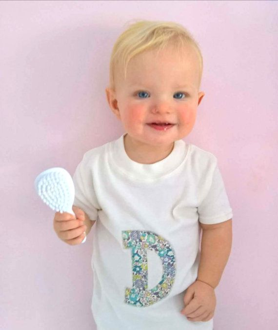 Personalised Baby Tshirt-Liberty Fabric-Initial by DollyOliveShop