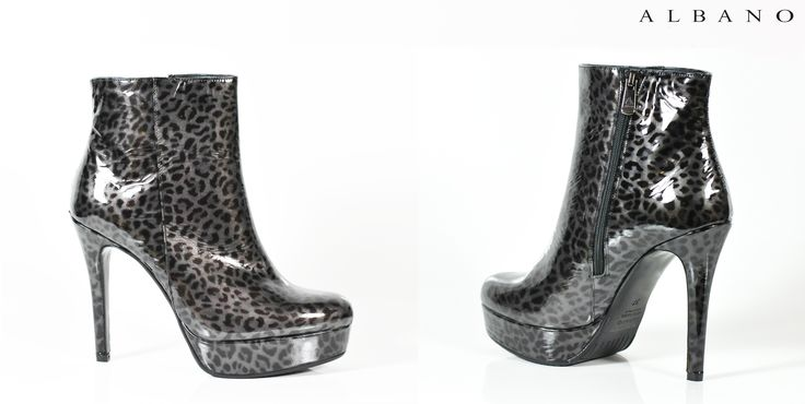 Weekend start!!Albano propose patent leather ankle boots spotted