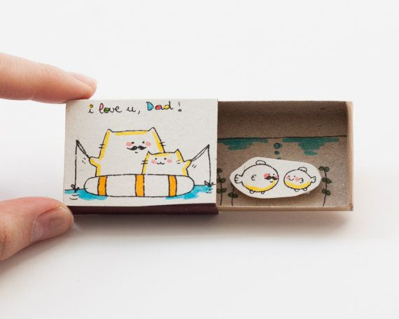 Father's Day I love you Dad Matchbox/ Card / Gift box / by shop3xu