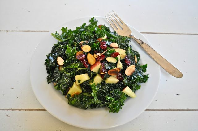 kale, cranberry, apple and toasted almond salad with lemon dressing