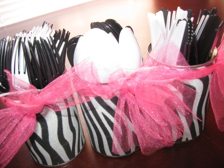 zebra/hot pink I got the idea to make these untensil holders from here http://catchmyparty.com/photos/374177 covered, soup cans with zebra scrapbook paper, and then tied hot pink tulle
