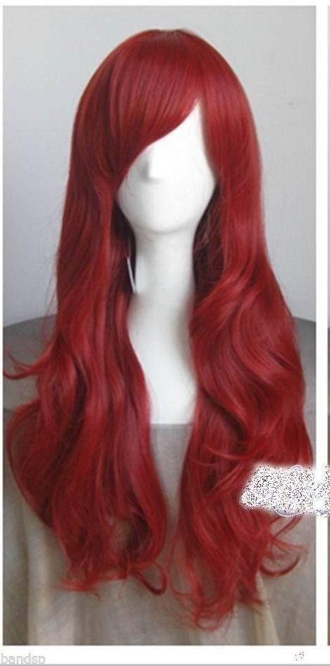 DISNEY THE LITTLE MERMAID ARIEL Curly wave RED WIG cosplay wig+a wig cap #FullWig